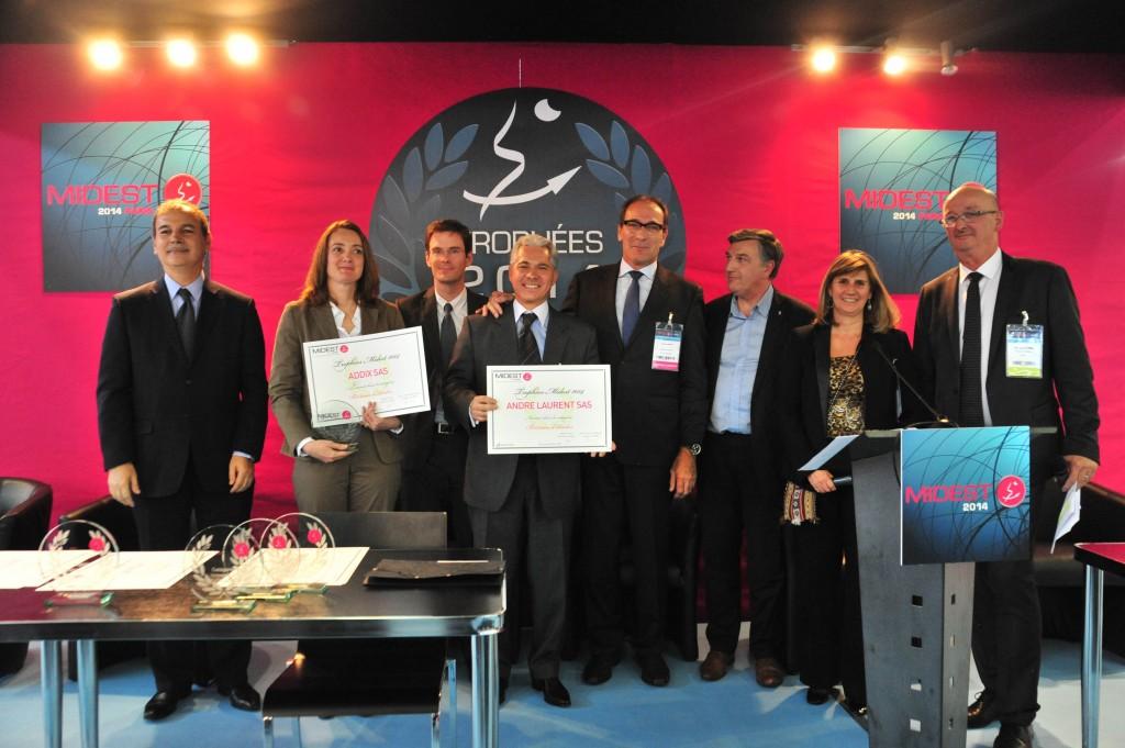 L'équipe ANDRÉ LAURENT lors de la remise des prix des Trophées de l'Innovation (MIDEST 2014)